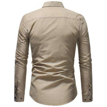 Men's Fashion Casual Solid Color Long-Sleeved Shirt - BEIGE M