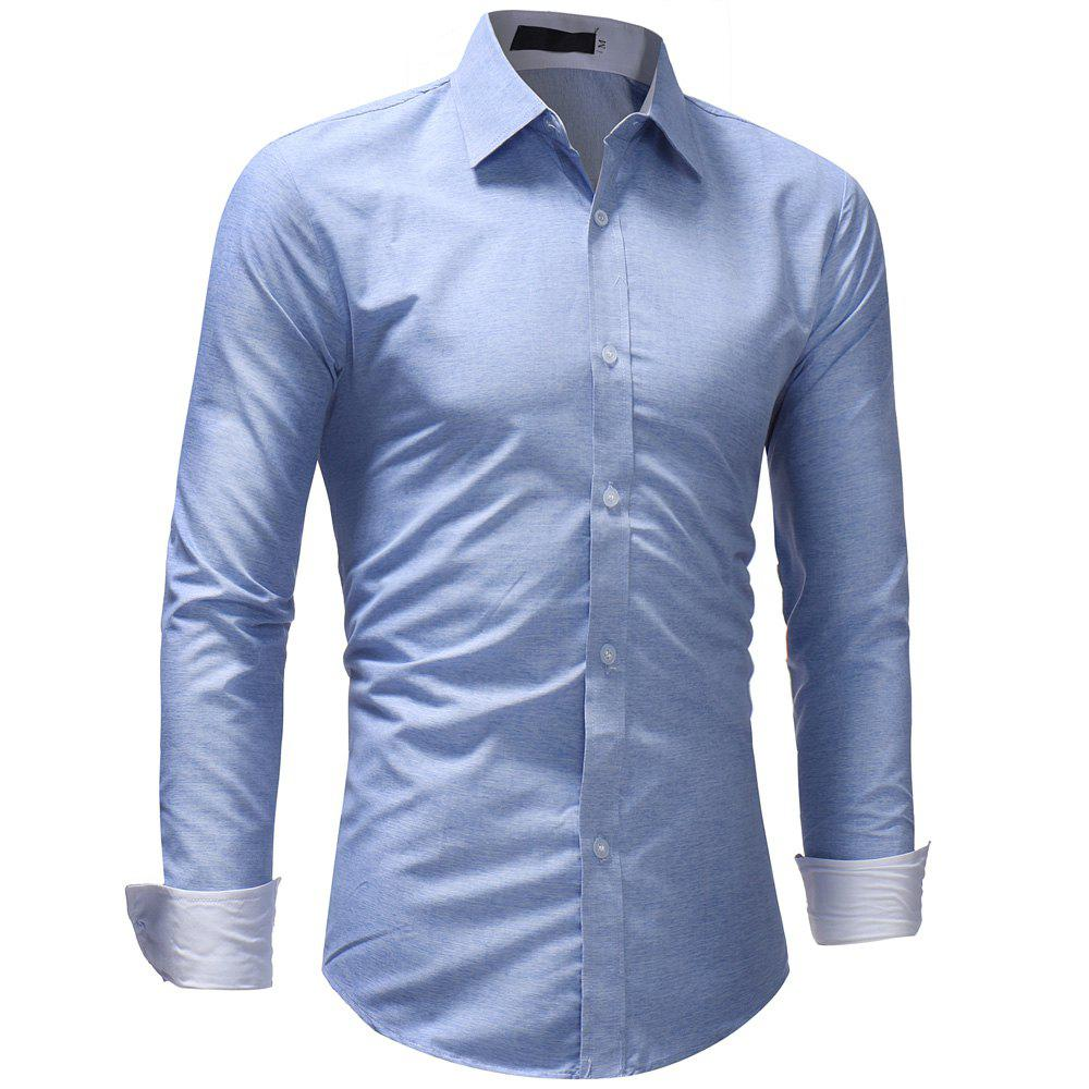 Men's Fashion Casual Solid Color Long-Sleeved Shirt - LIGHT BLUE 3XL