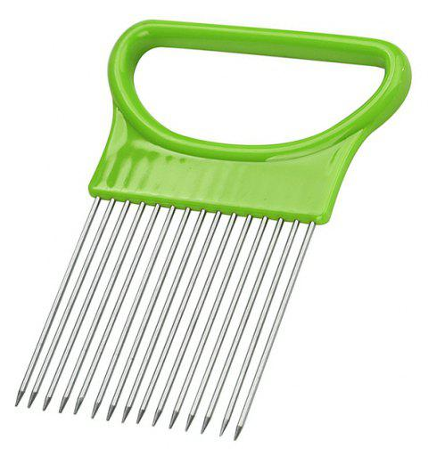 Onion Vegetables Slicer Cutting Aid Holder Guide Slicing Cutter Safe Fork - YELLOW GREEN