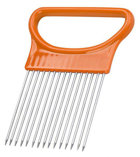 Onion Vegetables Slicer Cutting Aid Holder Guide Slicing Cutter Safe Fork - CONSTRUCTION CONE ORANGE