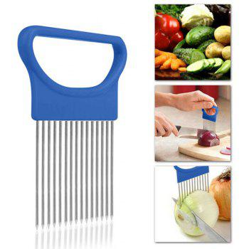 Onion Vegetables Slicer Cutting Aid Holder Guide Slicing Cutter Safe Fork - BLUE