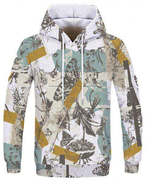 Fashion Printed Men's Butterfly Figure Hoodie - multicolor S
