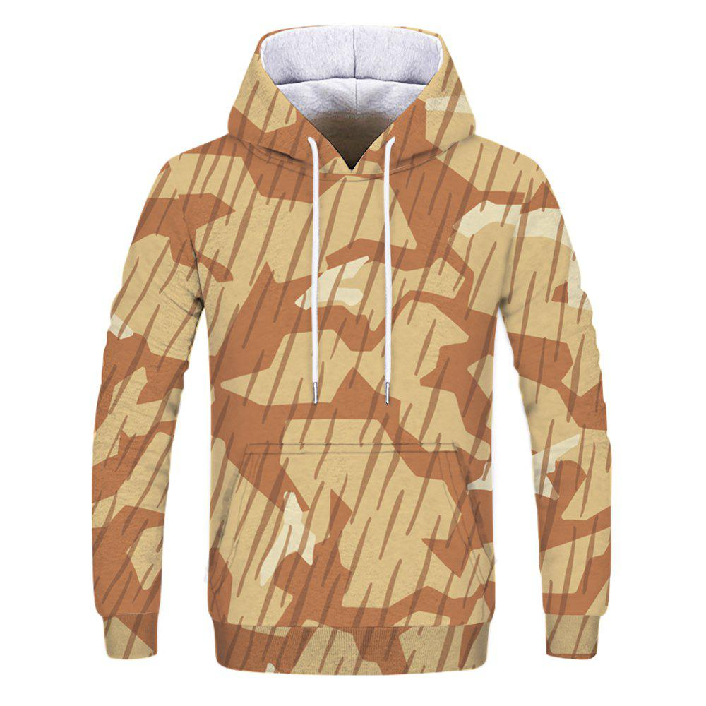 Fashion Men's Print Desert Camouflage Hoodie - multicolor L