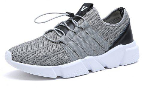 Men Running Lace Up Sport  Outdoor Jogging Walking Athletic Shoes - LIGHT GRAY 42