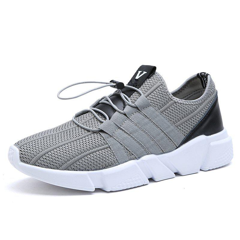 Men Running Lace Up Sport  Outdoor Jogging Walking Athletic Shoes - LIGHT GRAY 39