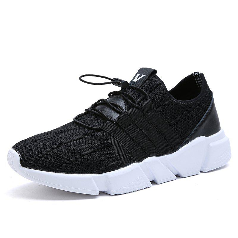 Men Running Lace Up Sport  Outdoor Jogging Walking Athletic Shoes - BLACK 43