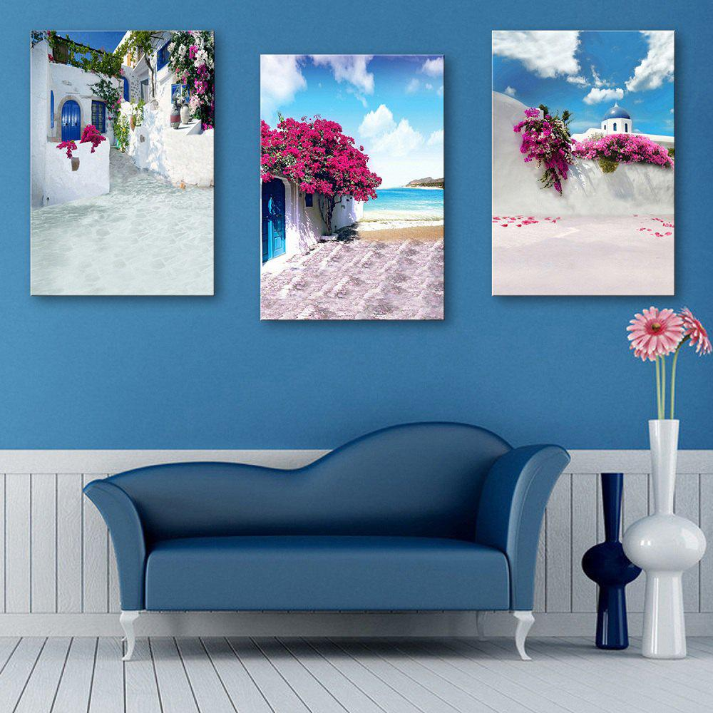 Special Design Frameless Paintings Seaside House Pattern of 3pcs - multicolor 20 X 14 INCH (50CM X 35CM)