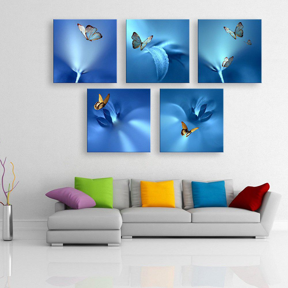 Special Design Frameless Painting Blue Butterfly of 5pcs - multicolor 24 X 24 INCH (60CM X 60CM)