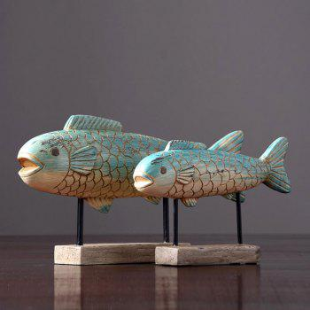 Home Decoration Vintage Resin Animal Fish Ornament - multicolor A SIZE L