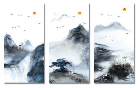 3PCS Ink Painting Abstract Scenery Print Art - multicolor