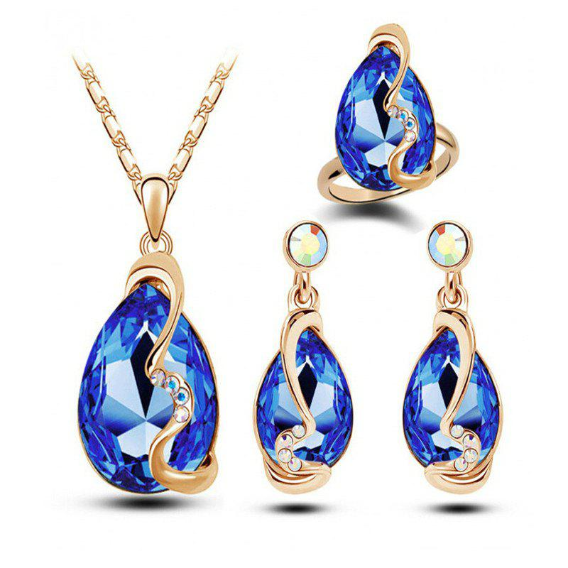 Fashion Party Accessories Earrings Pendant Necklace Ring Jewelry Set - BLUE
