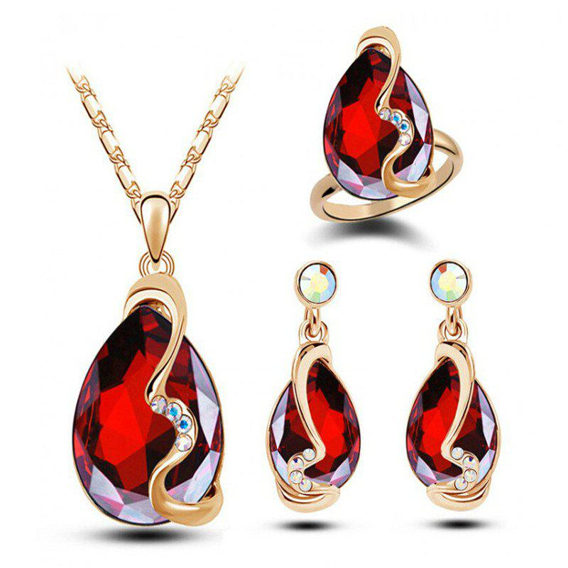 Fashion Party Accessories Earrings Pendant Necklace Ring Jewelry Set - RED