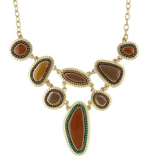 Metal Long Chain with Colorful Resin Geometry Pendant Necklace - multicolor B
