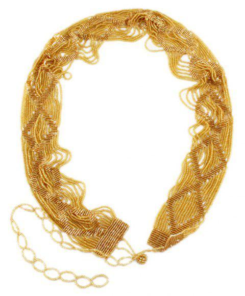 Fashion Multilayer Bead Weave Waist Chain for Women - YELLOW