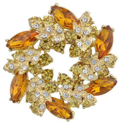 Extravagant Full Rhinestone Crystal Flower Brooch - multicolor