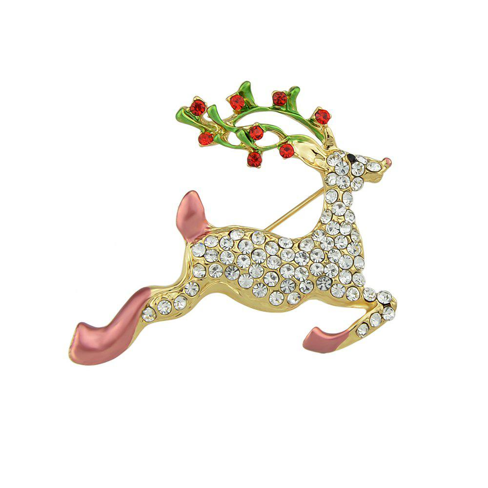 Colorful Enamel Rhinestone Christmas Deer Brooch - multicolor