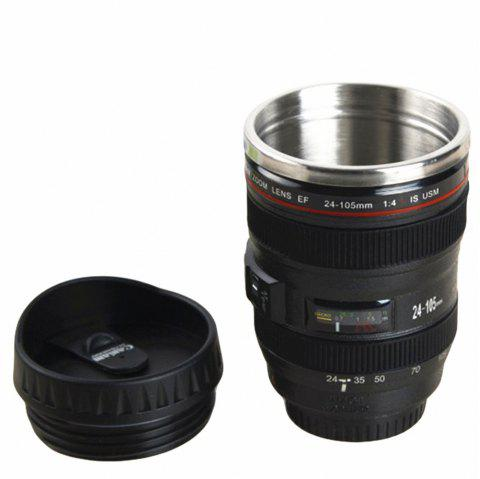 Coffee Mug Camera Lens Travel Thermos Stainless Steel Insulated Cup - BLACK