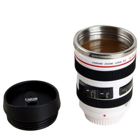 Coffee Mug Camera Lens Travel Thermos Stainless Steel Insulated Cup - WHITE