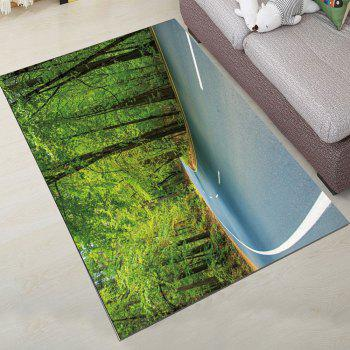 Simple North Europe Style Rug Forest Scenery Pattern Floor Mat Living Room - GREEN ONION 80X120CM