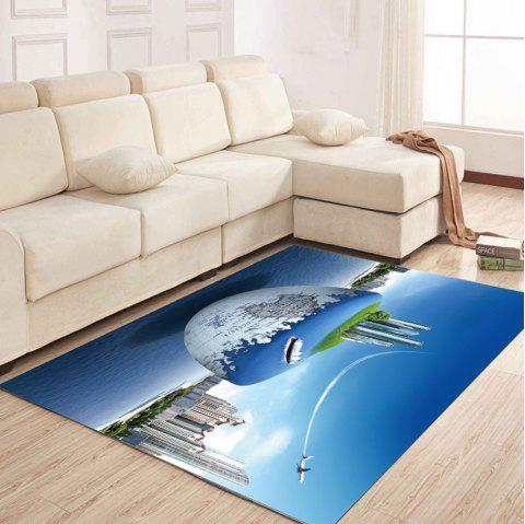 Simple North Europe Style Rug Earth And City Pattern Floor Mat Living Room - OCEAN BLUE 140X200CM
