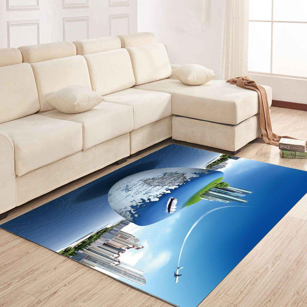 Simple North Europe Style Rug Earth And City Pattern Floor Mat Living Room - OCEAN BLUE 40X60CM
