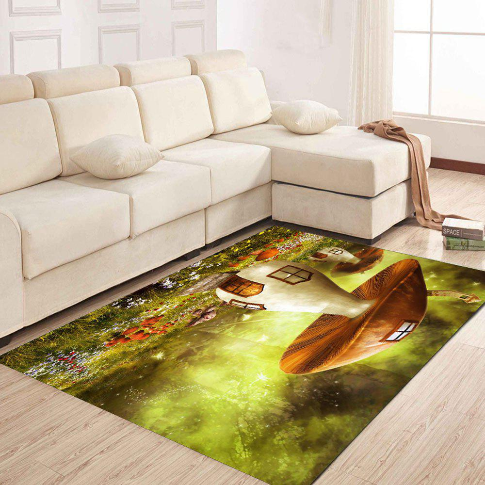 Simple North Europe Style Rug Big Mushroom Pattern Floor Mat Living Room Bedroom - GREEN ONION 80X120CM