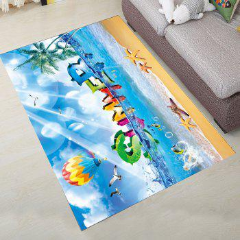 Simple North Europe Style Rug Blue Sky And Beach Pattern Floor - TURQUOISE 160X230CM