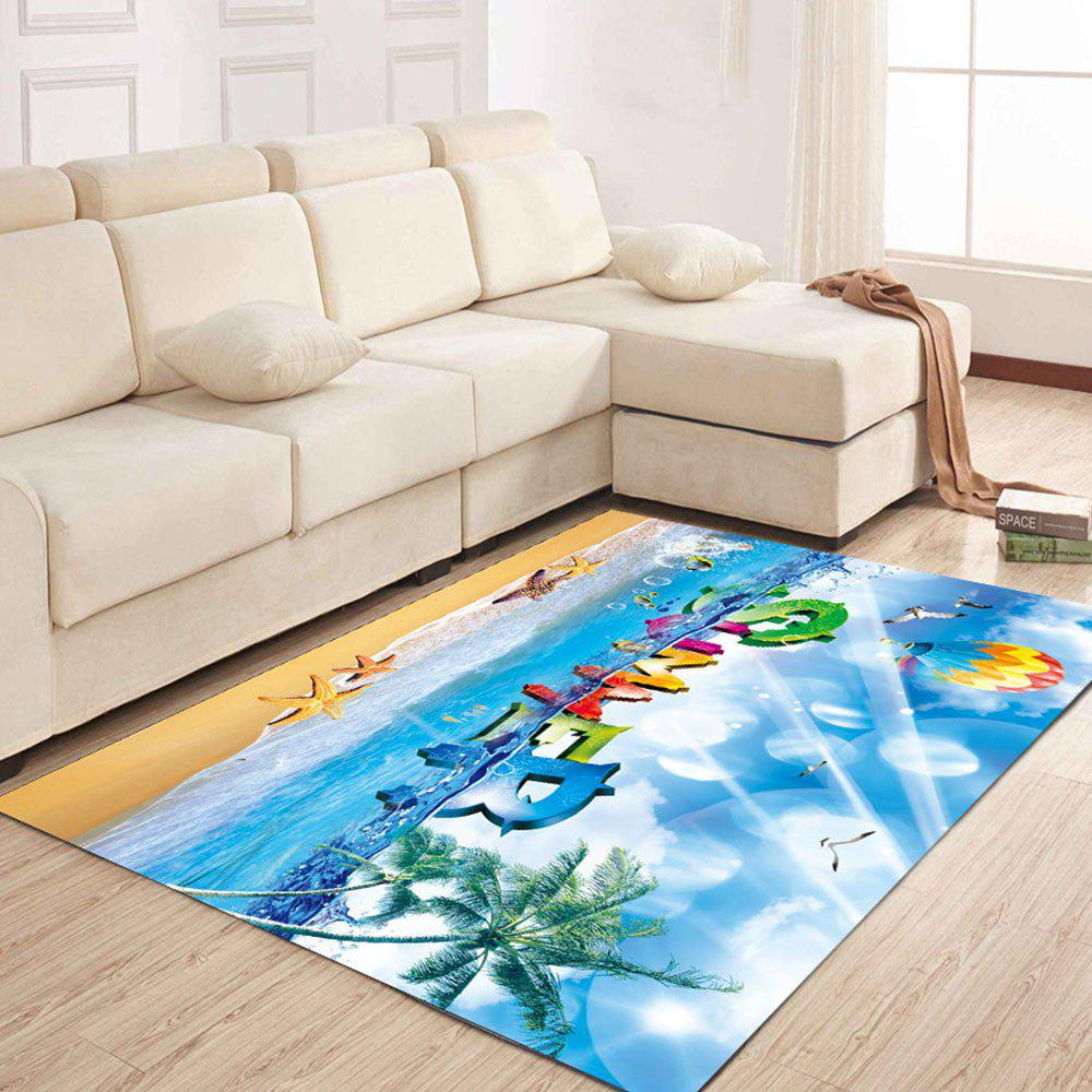 Simple North Europe Style Rug Blue Sky And Beach Pattern Floor - TURQUOISE 140X200CM