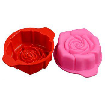 Rose-shaped Silicone Chocolate Cake Mould - RED