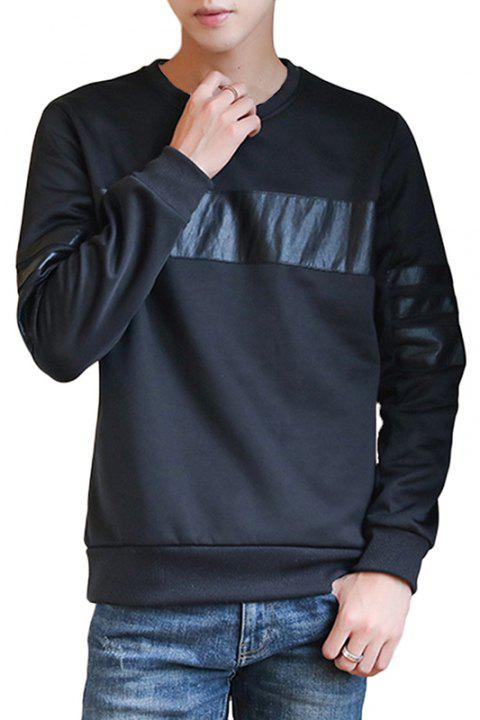 Men's Fall Fashion Round Collar Sweatshirt - BLACK L