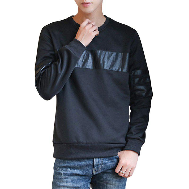 Men's Fall Fashion Round Collar Sweatshirt - BLACK XL