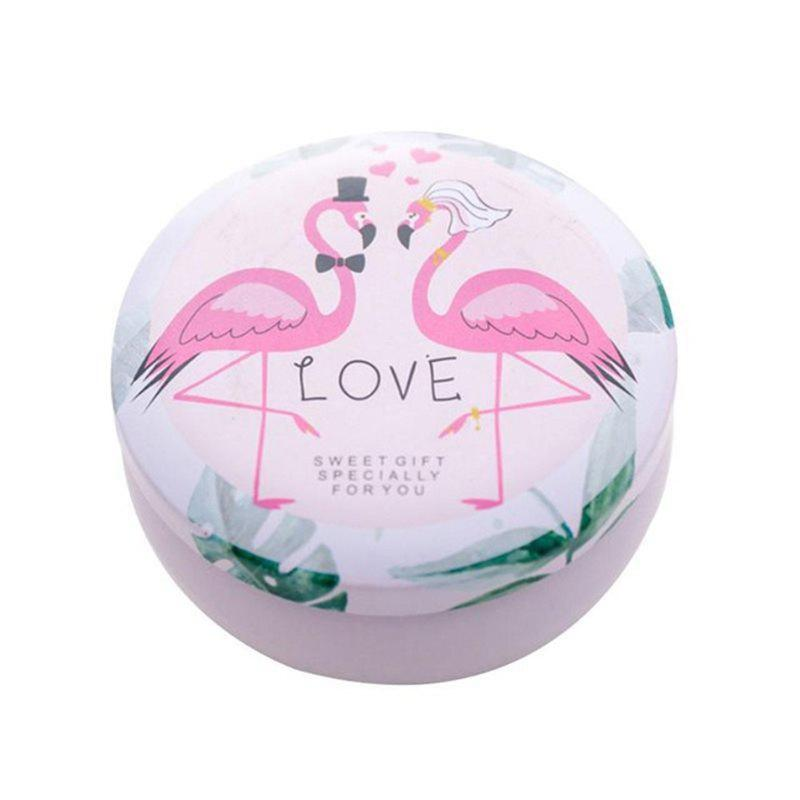 Daily Storage of Debris Small Fresh Candy Creative Flamingo Elk Round Tin Box - PINK ROSE