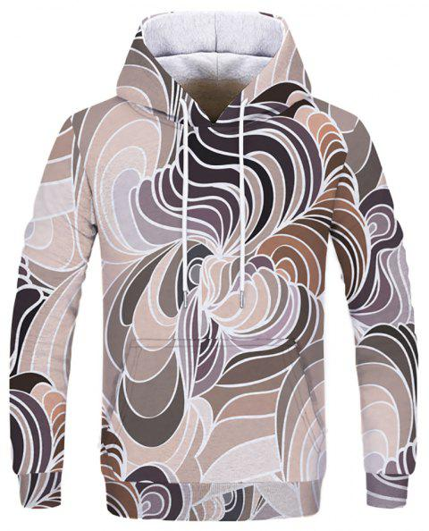 3D Circular Pattern Print Fashion Men's Hoodie Sweatshirt - multicolor B 2XL