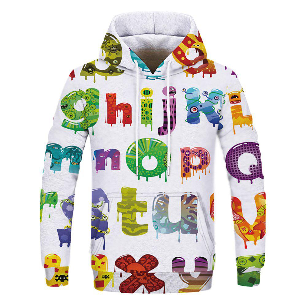 Sweat-shirt à capuche 3D Letter Print Fashion pour Homme - multicolor B 2XL