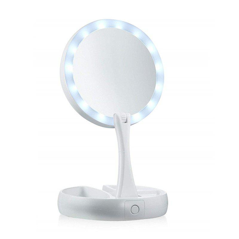 Makeup Mirror LED-illuminated 10X Magnification Double Sided Light - WHITE
