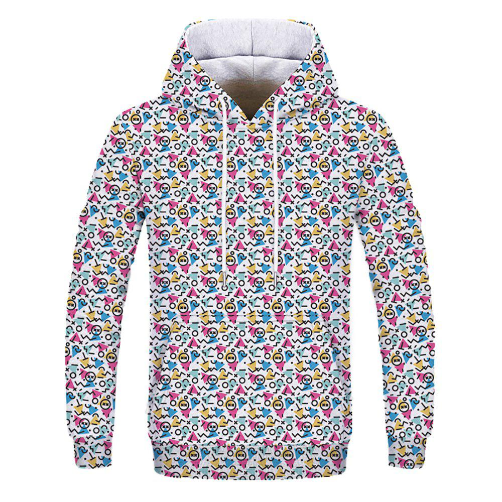 Autumn Fashion Youth Men's 3D Digital Print Patch Pocket Hoodie - multicolor S
