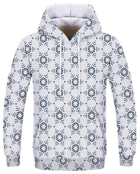 Men's New Fashion Simple 3D Printing Long-Sleeved Patch Pocket Hoodie - NATURAL WHITE S