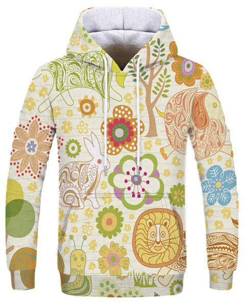Men's New Fashion Novelty 3D Print Long Sleeve Patch Pocket Hoodie - multicolor S