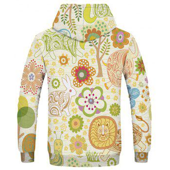 Men's New Fashion Novelty 3D Print Long Sleeve Patch Pocket Hoodie - multicolor 3XL