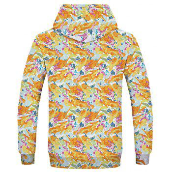 Autumn Fashion New Trend 3D Digital Printing Patch Pocket Hoodie - ORANGE GOLD 3XL
