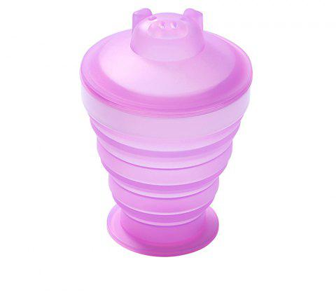 SKL Outdoor Sports Portable Anti-Fall Silicone Folding Water Cup - NEON PINK