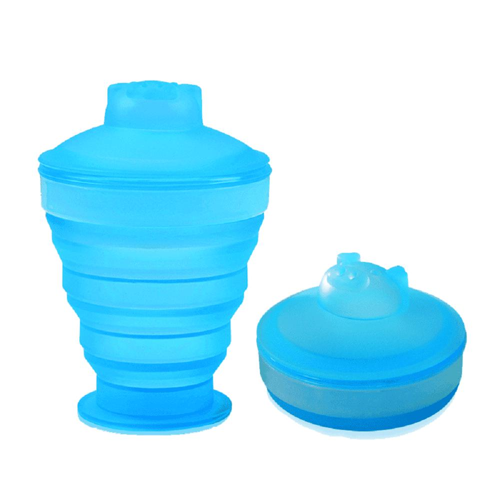 SKL Outdoor Sports Portable Anti-Fall Silicone Folding Water Cup - CRYSTAL BLUE