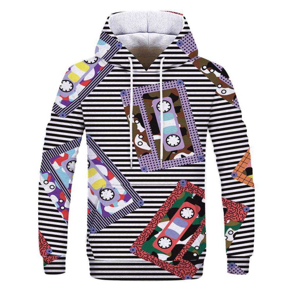 Fashion 3D Printed Casual Hooded Sweatshirt - multicolor L