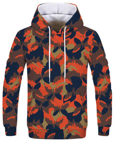 Fashion Camouflage Butterfly Print Sweatshirt - multicolor L