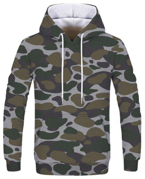 Men's Camouflage Army Green Double Hooded Sweatshirt - multicolor XL