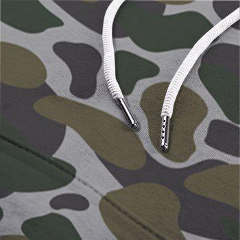 Men's Camouflage Army Green Double Hooded Sweatshirt - multicolor XS