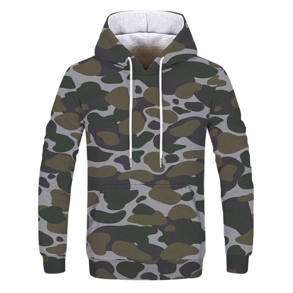 Men's Camouflage Army Green Double Hooded Sweatshirt - multicolor 3XL