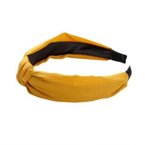 Wide Edge Fabric Simple Joker Cross Knot Show Face Small Hairband - SUN YELLOW