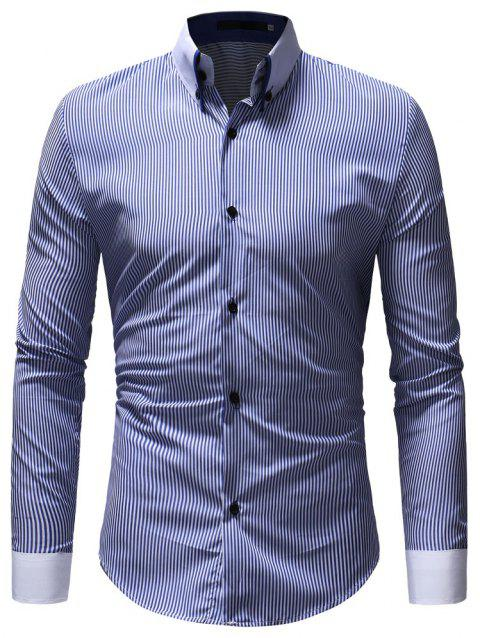 Autumn Winter Men's Casual Slim Long-Sleeved Shirt - BLUE M