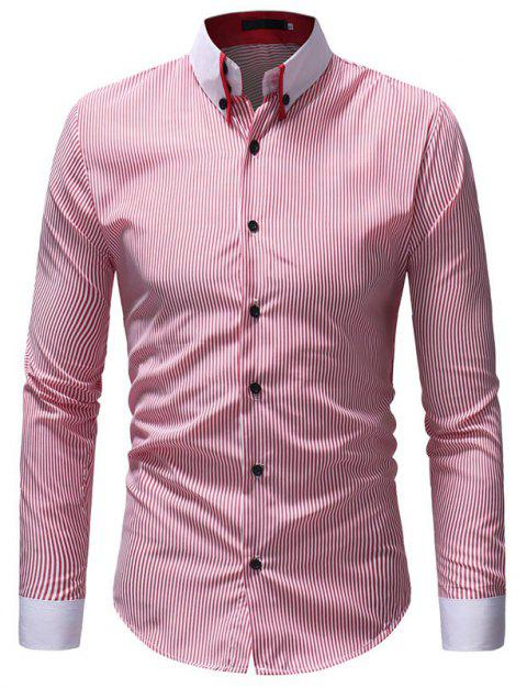 Autumn Winter Men's Casual Slim Long-Sleeved Shirt - RED M